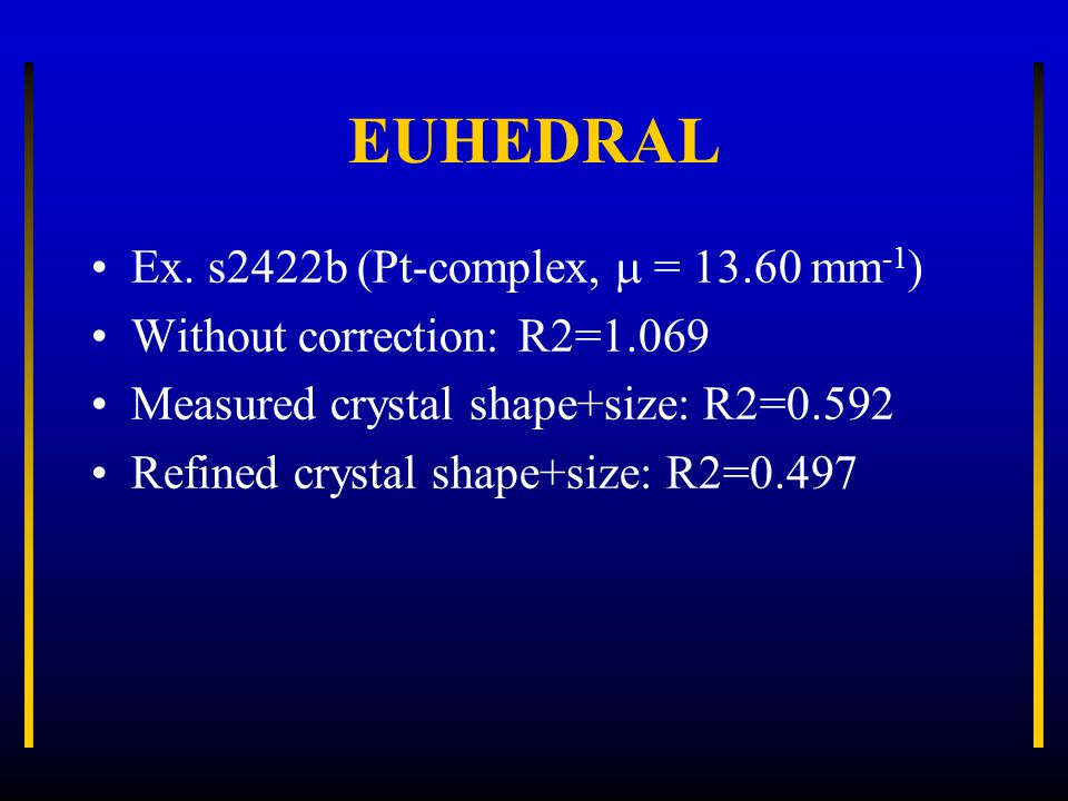 Ex. s2422b (Pt-complex,  = 13.60 mm -1 ) Without correction: R2=1.069 Measured crystal shape+size: R2=0.592 Refined crystal shape+size: R2=0.497
