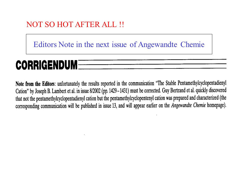 NOT SO HOT AFTER ALL !! Editors Note in the next issue of Angewandte Chemie
