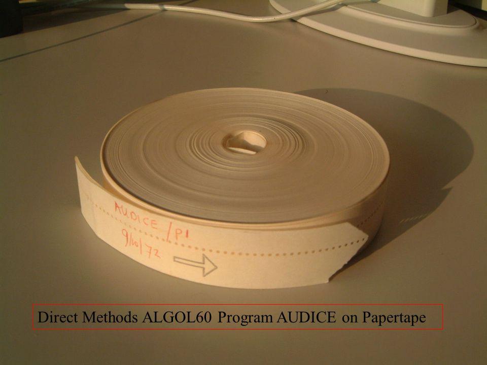 Direct Methods ALGOL60 Program AUDICE on Papertape