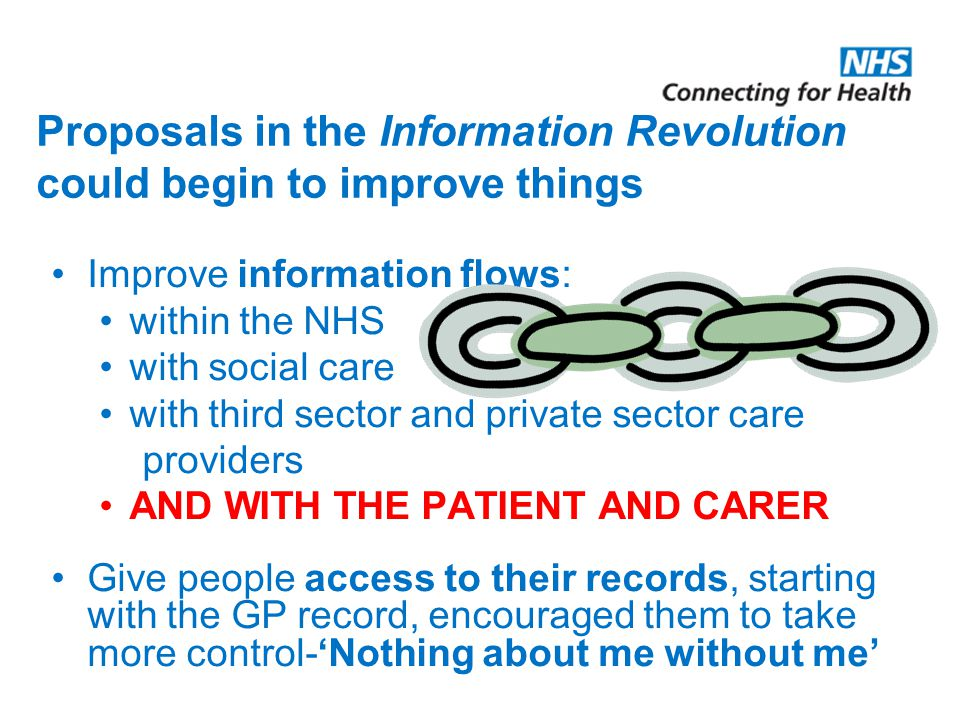 Proposals in the Information Revolution could begin to improve things Improve information flows: within the NHS with social care with third sector and private sector care providers AND WITH THE PATIENT AND CARER Give people access to their records, starting with the GP record, encouraged them to take more control-'Nothing about me without me'