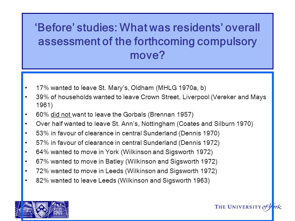 'Before' studies: What was residents' overall assessment of the forthcoming compulsory move.