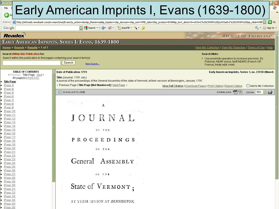 Early American Imprints I, Evans (1639-1800)