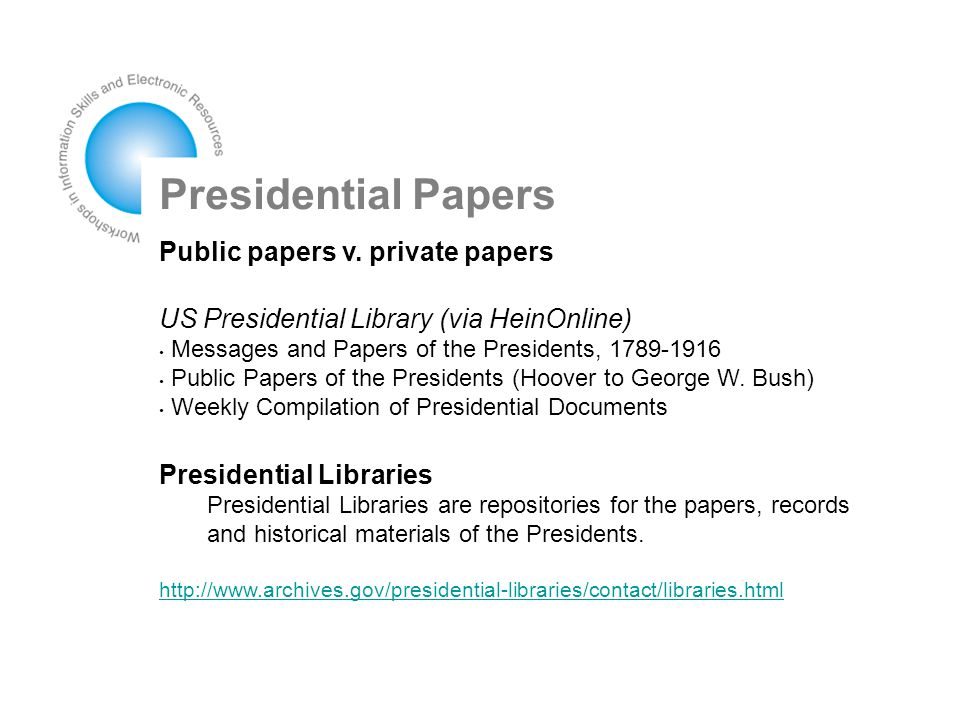Presidential Papers Public papers v.