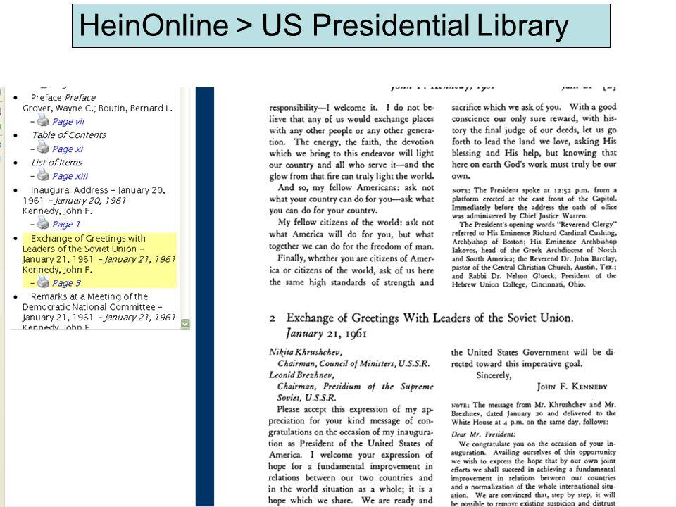 HeinOnline > US Presidential Library