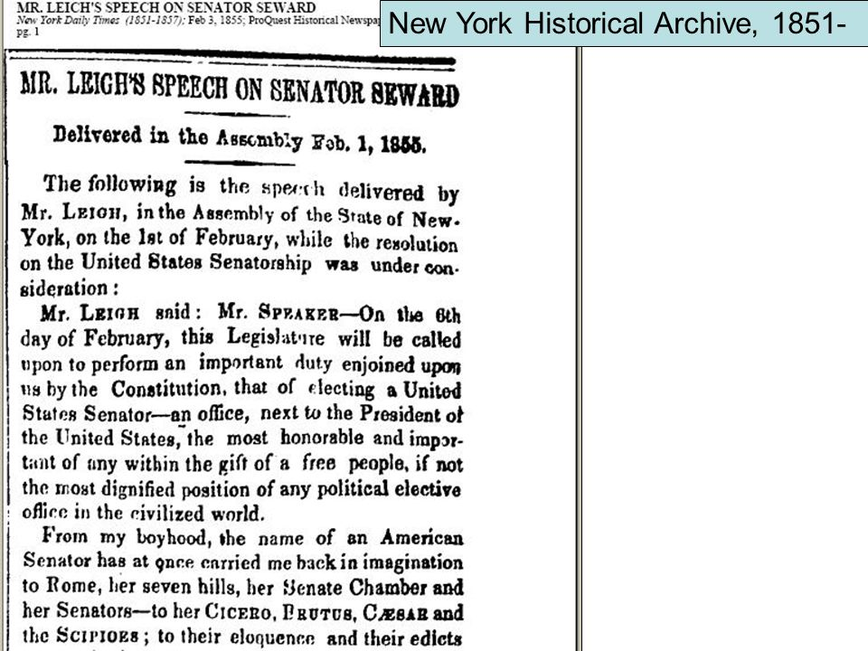 New York Historical Archive, 1851-