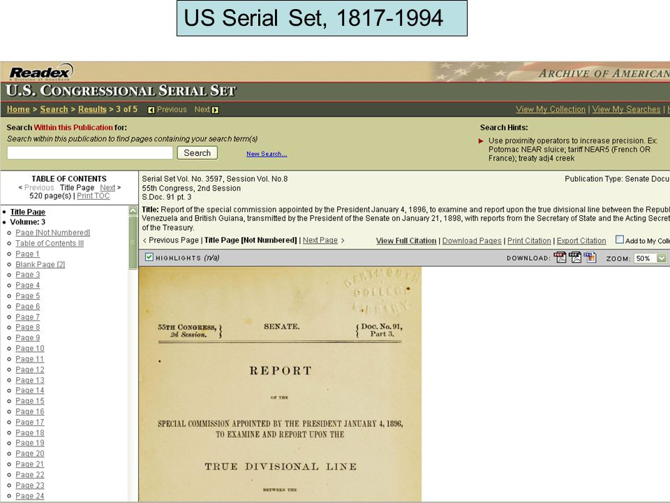 US Serial Set, 1817-1994