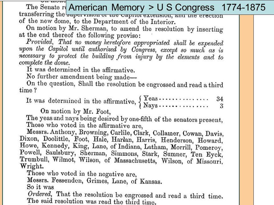 American Memory > U S Congress 1774-1875