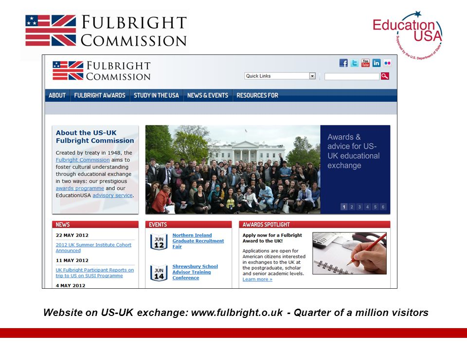 Website on US-UK exchange: www.fulbright.o.uk - Quarter of a million visitors