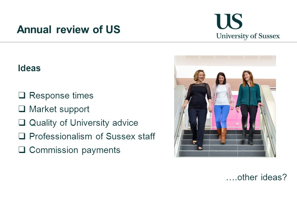 Annual review of US Ideas  Response times  Market support  Quality of University advice  Professionalism of Sussex staff  Commission payments ….other ideas