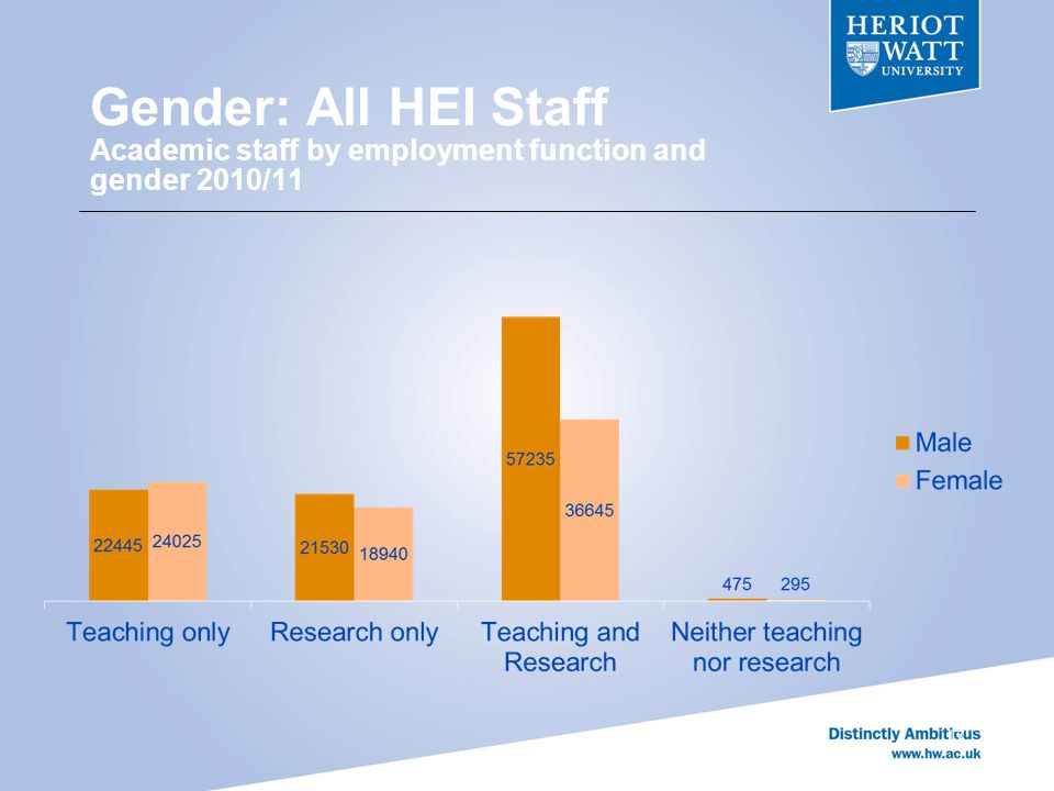 Gender: All HEI Staff Academic staff by employment function and gender 2010/11 17