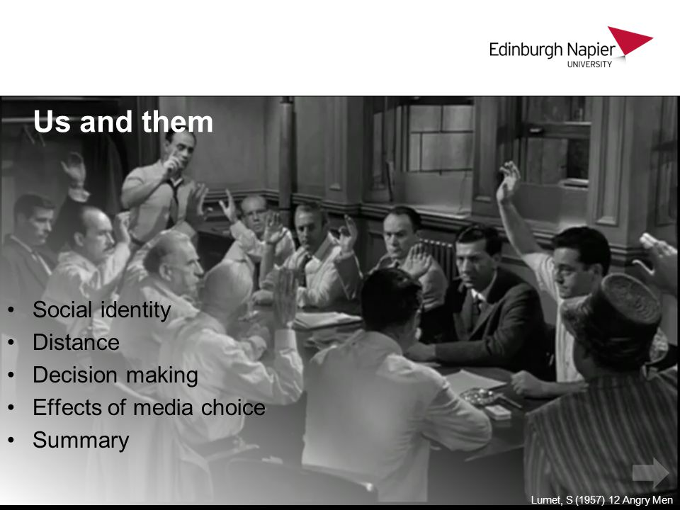 Us and them Social identity Distance Decision making Effects of media choice Summary Lumet, S (1957) 12 Angry Men