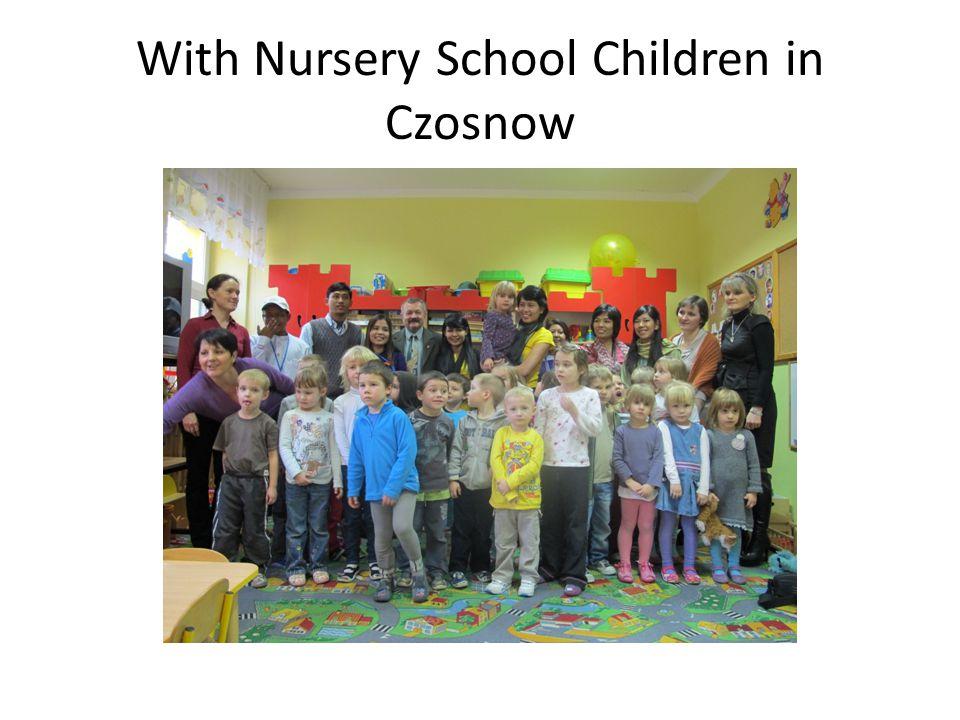 With Nursery School Children in Czosnow