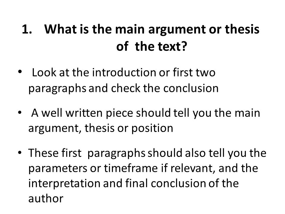 1.What is the main argument or thesis of the text.