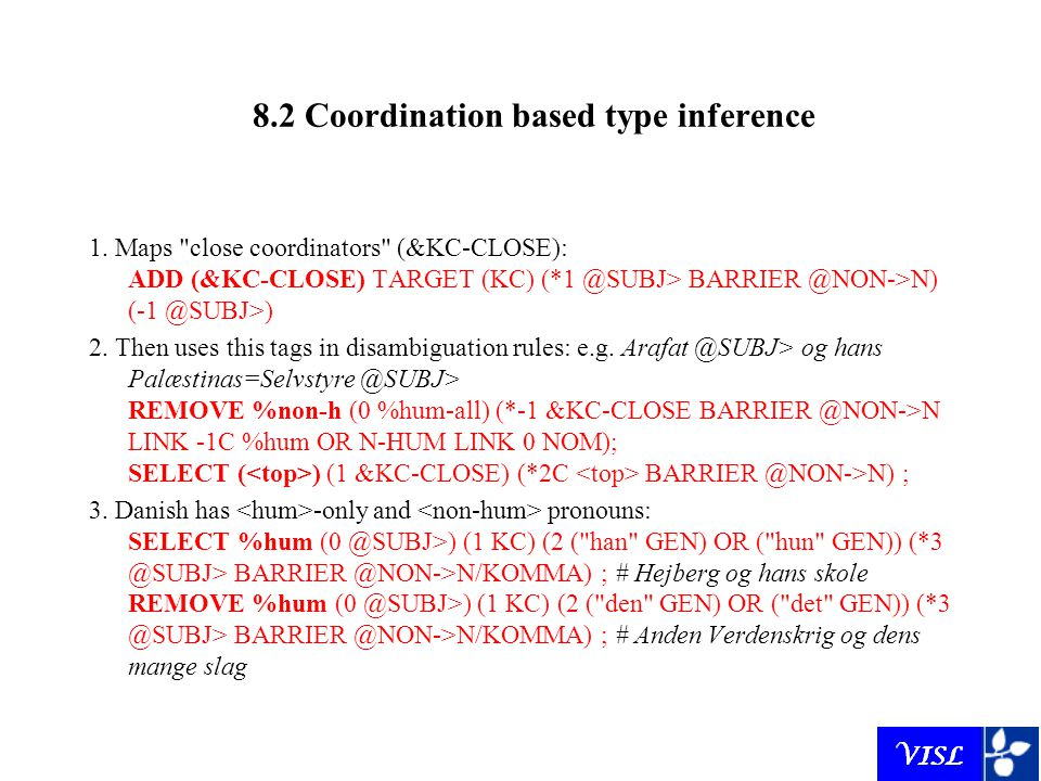 8.2 Coordination based type inference 1.