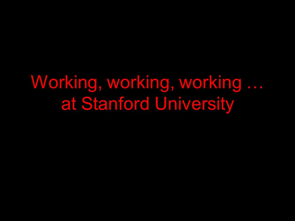 Working, working, working … at Stanford University