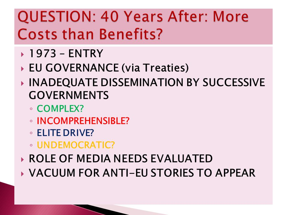  1973 – ENTRY  EU GOVERNANCE (via Treaties)  INADEQUATE DISSEMINATION BY SUCCESSIVE GOVERNMENTS ◦ COMPLEX.