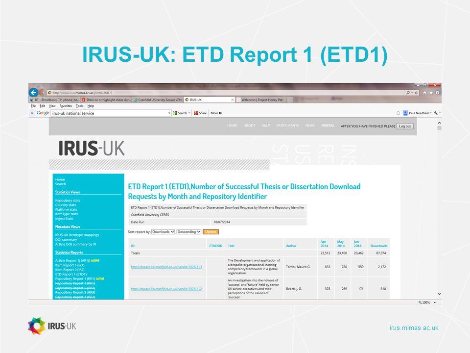 irus.mimas.ac.uk IRUS-UK: ETD Report 1 (ETD1)