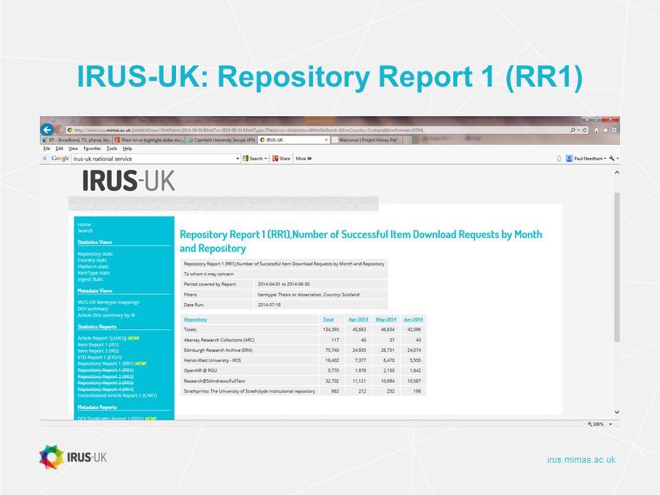 irus.mimas.ac.uk IRUS-UK: Repository Report 1 (RR1)