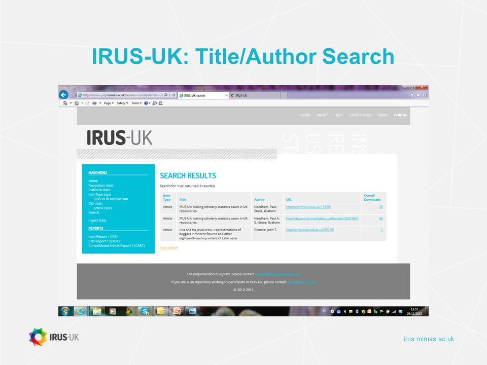 irus.mimas.ac.uk IRUS-UK: Title/Author Search