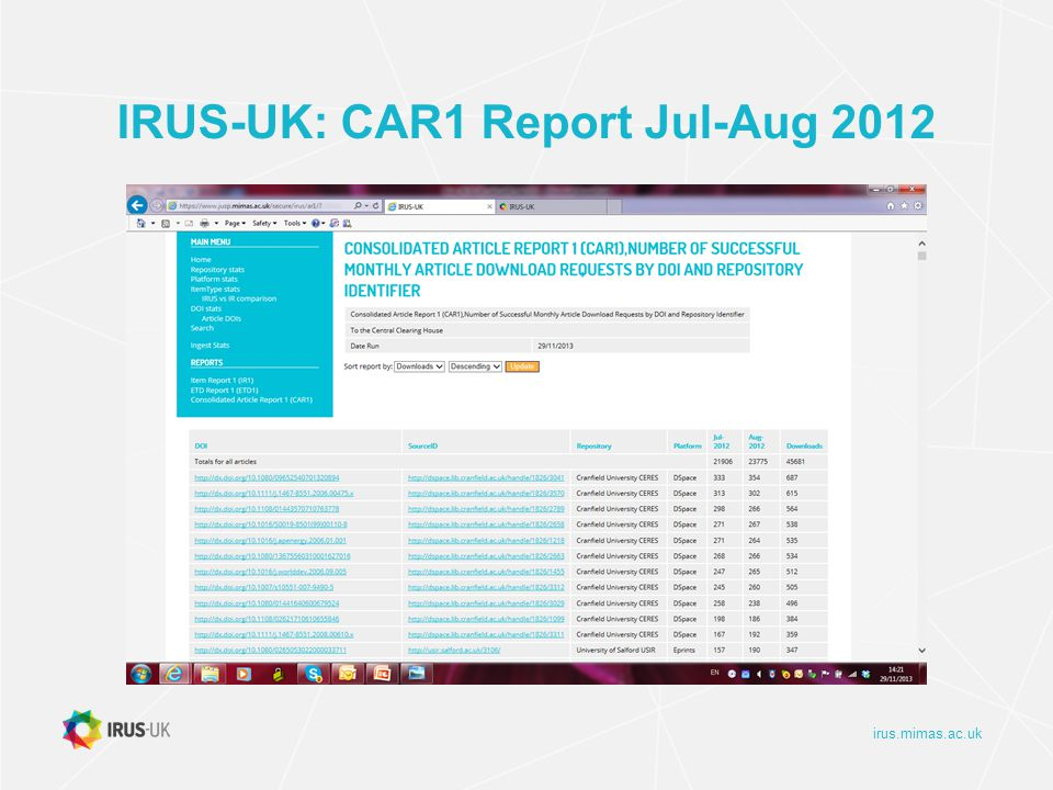 irus.mimas.ac.uk IRUS-UK: CAR1 Report Jul-Aug 2012