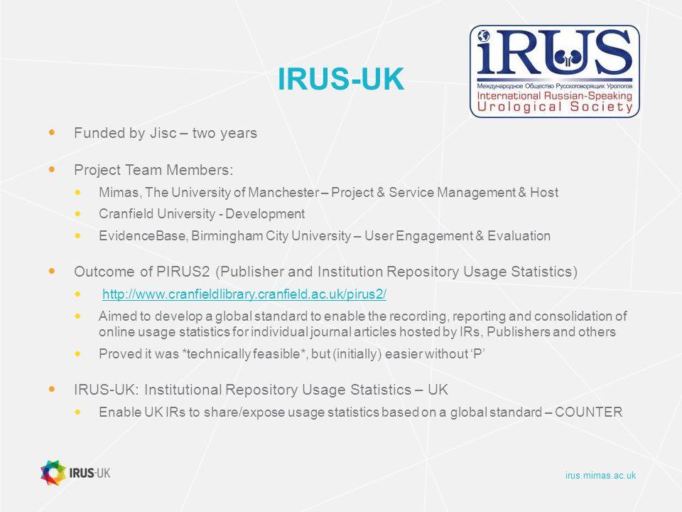 irus.mimas.ac.uk IRUS-UK: Ingest Summary Stats