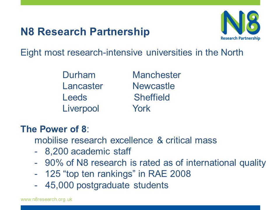 N8 Research Partnership Eight most research-intensive universities in the North Durham Manchester LancasterNewcastle Leeds Sheffield LiverpoolYork The Power of 8: mobilise research excellence & critical mass -8,200 academic staff -90% of N8 research is rated as of international quality -125 top ten rankings in RAE ,000 postgraduate students