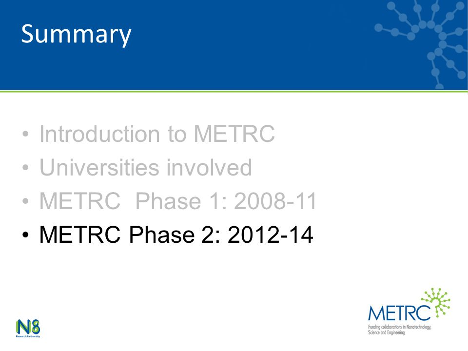 Summary Introduction to METRC Universities involved METRC Phase 1: METRC Phase 2: