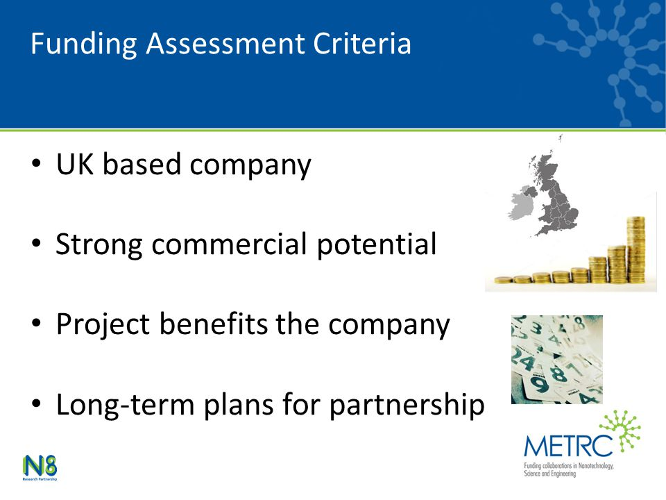 Funding Assessment Criteria UK based company Strong commercial potential Project benefits the company Long-term plans for partnership