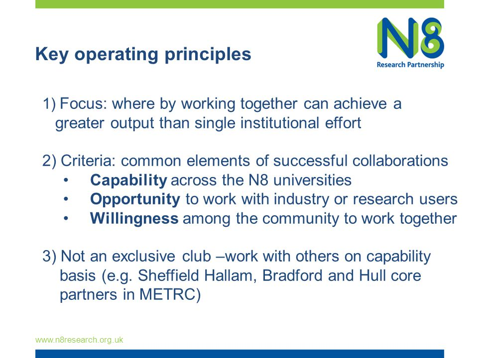 Key operating principles   1) Focus: where by working together can achieve a greater output than single institutional effort 2) Criteria: common elements of successful collaborations Capability across the N8 universities Opportunity to work with industry or research users Willingness among the community to work together 3) Not an exclusive club –work with others on capability basis (e.g.