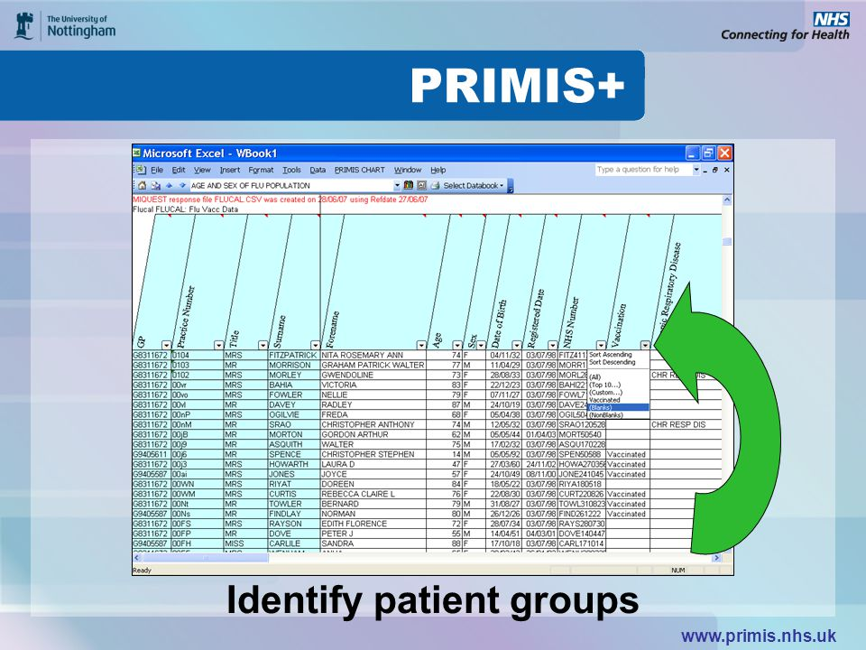www.primis.nhs.uk Identify patient groups