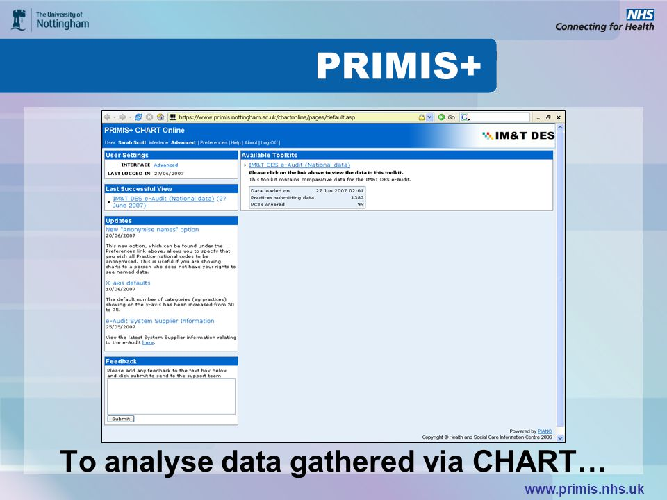 www.primis.nhs.uk To analyse data gathered via CHART…