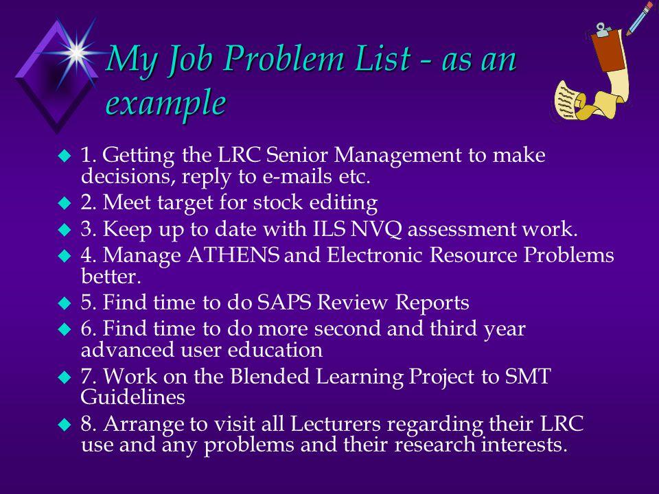 My Job Problem List - as an example u 1.