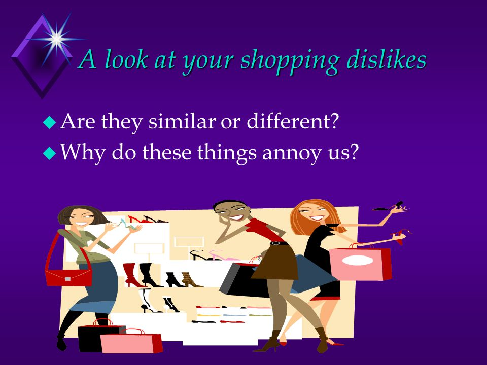A look at your shopping dislikes u Are they similar or different u Why do these things annoy us