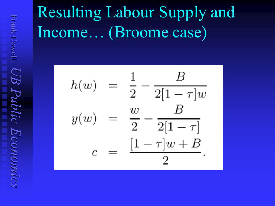 Frank Cowell: UB Public Economics Resulting Labour Supply and Income… (Broome case)