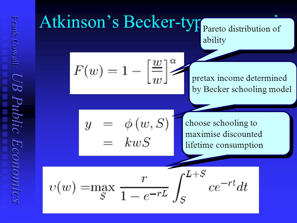 Frank Cowell: UB Public Economics Atkinson's Becker-type approach Pareto distribution of ability pretax income determined by Becker schooling model ch