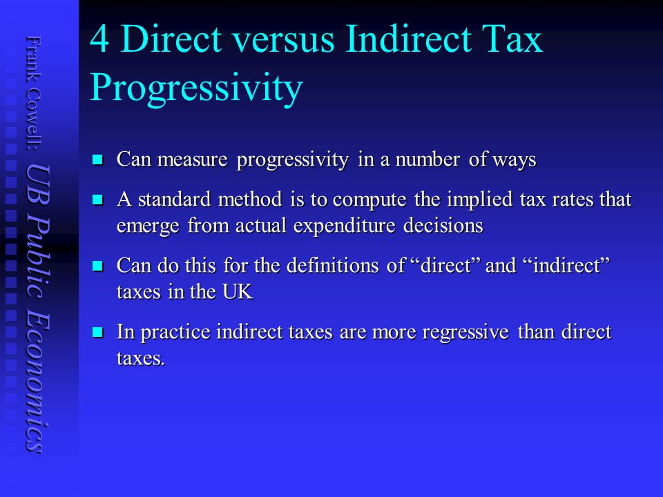 Frank Cowell: UB Public Economics 4 Direct versus Indirect Tax Progressivity Can measure progressivity in a number of ways Can measure progressivity in a number of ways A standard method is to compute the implied tax rates that emerge from actual expenditure decisions A standard method is to compute the implied tax rates that emerge from actual expenditure decisions Can do this for the definitions of direct and indirect taxes in the UK Can do this for the definitions of direct and indirect taxes in the UK In practice indirect taxes are more regressive than direct taxes.