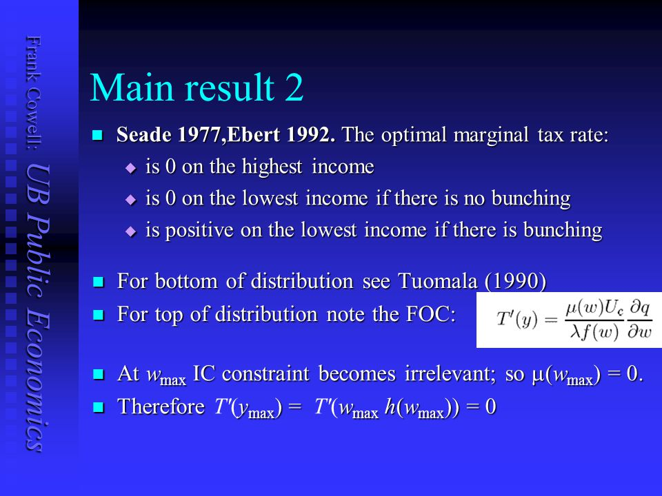 Frank Cowell: UB Public Economics Main result 2 Seade 1977,Ebert 1992. The optimal marginal tax rate: Seade 1977,Ebert 1992. The optimal marginal tax