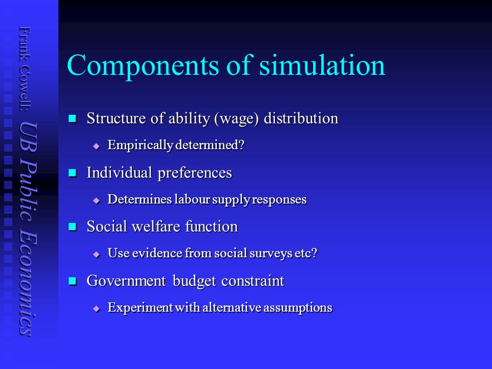 Frank Cowell: UB Public Economics Components of simulation Structure of ability (wage) distribution Structure of ability (wage) distribution  Empiric