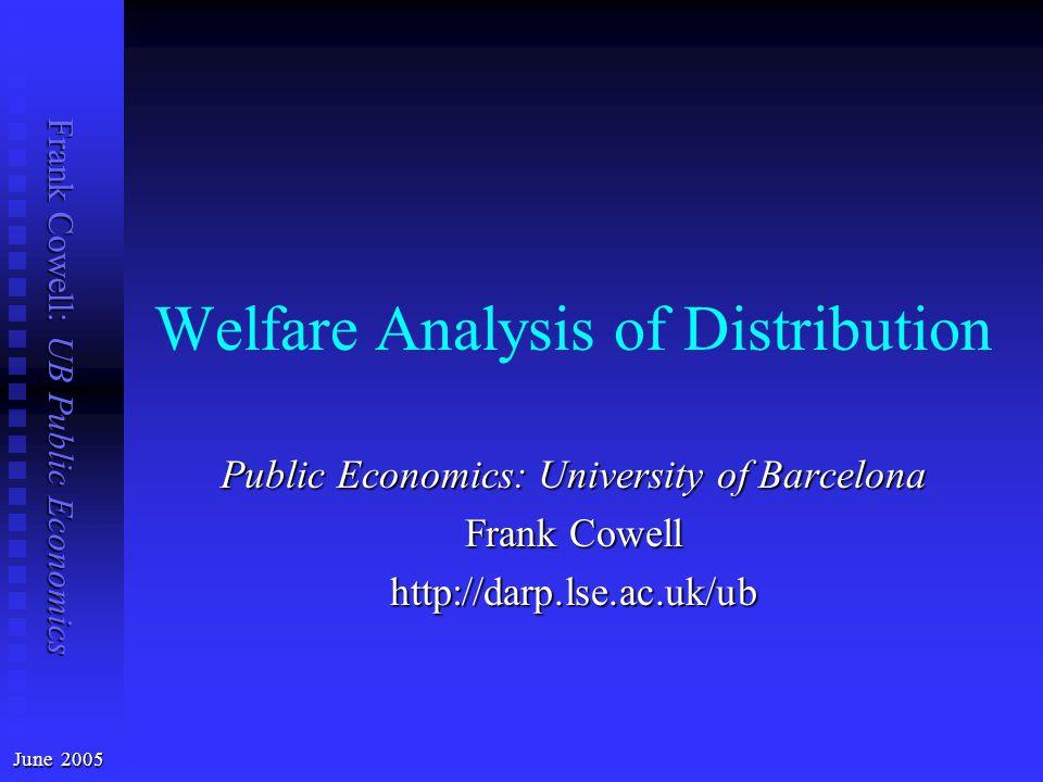 Frank Cowell: UB Public Economics Welfare Analysis of Distribution June 2005 Public Economics: University of Barcelona Frank Cowell http://darp.lse.ac.uk/ub