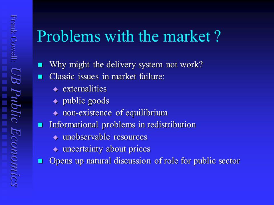Frank Cowell: UB Public Economics Problems with the market .