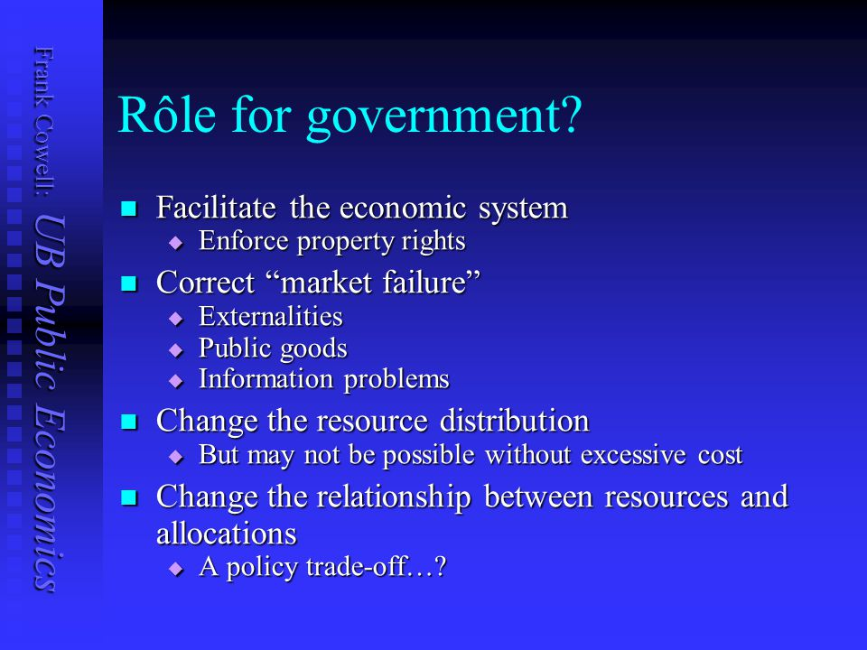 Frank Cowell: UB Public Economics Rôle for government.