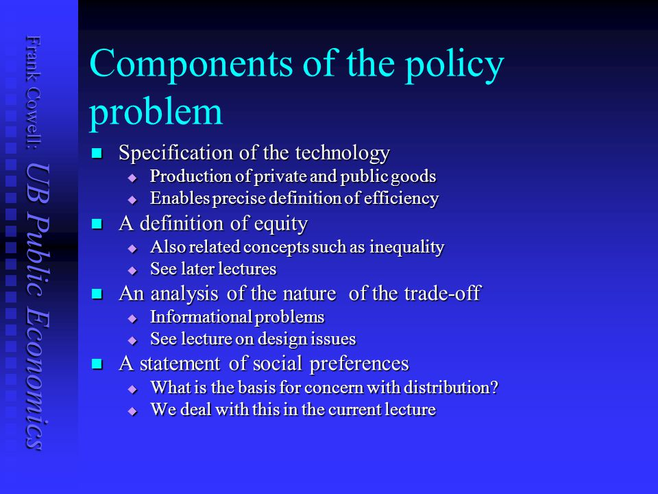 Frank Cowell: UB Public Economics Components of the policy problem Specification of the technology Specification of the technology  Production of pri