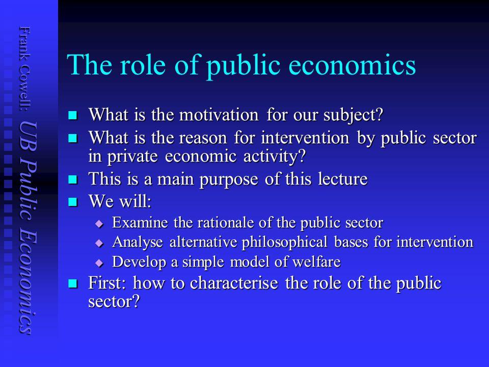 Frank Cowell: UB Public Economics The role of public economics What is the motivation for our subject.