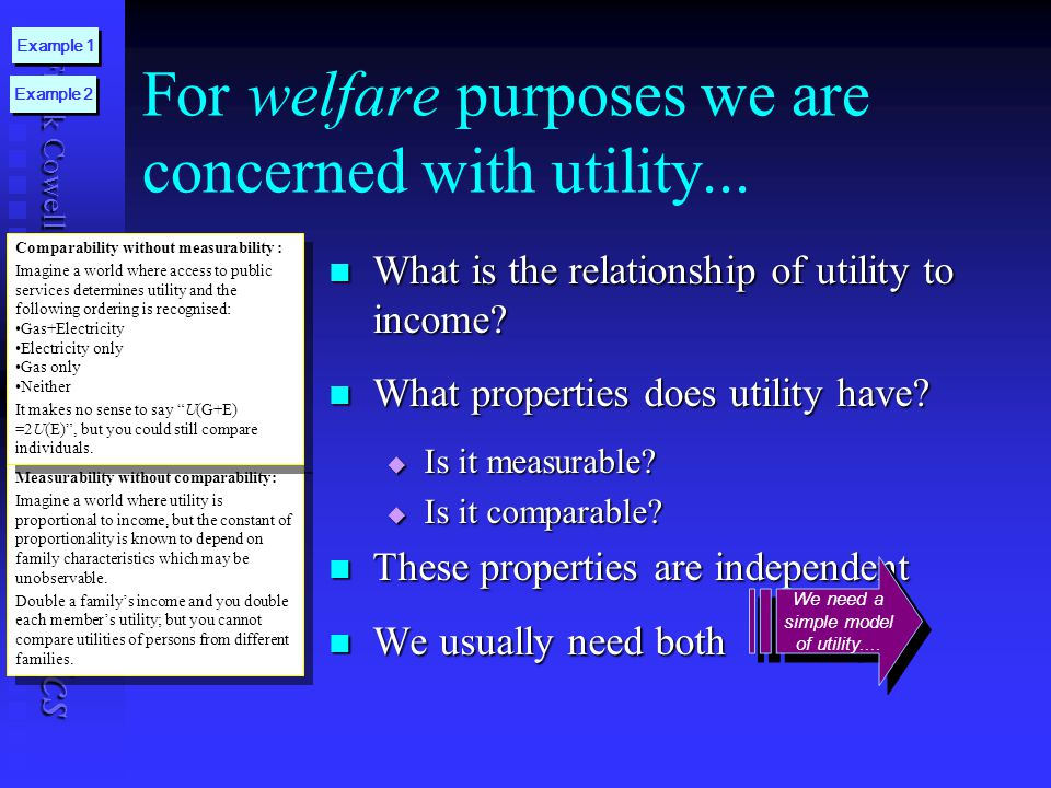 Frank Cowell: UB Public Economics For welfare purposes we are concerned with utility... What is the relationship of utility to income? What is the rel