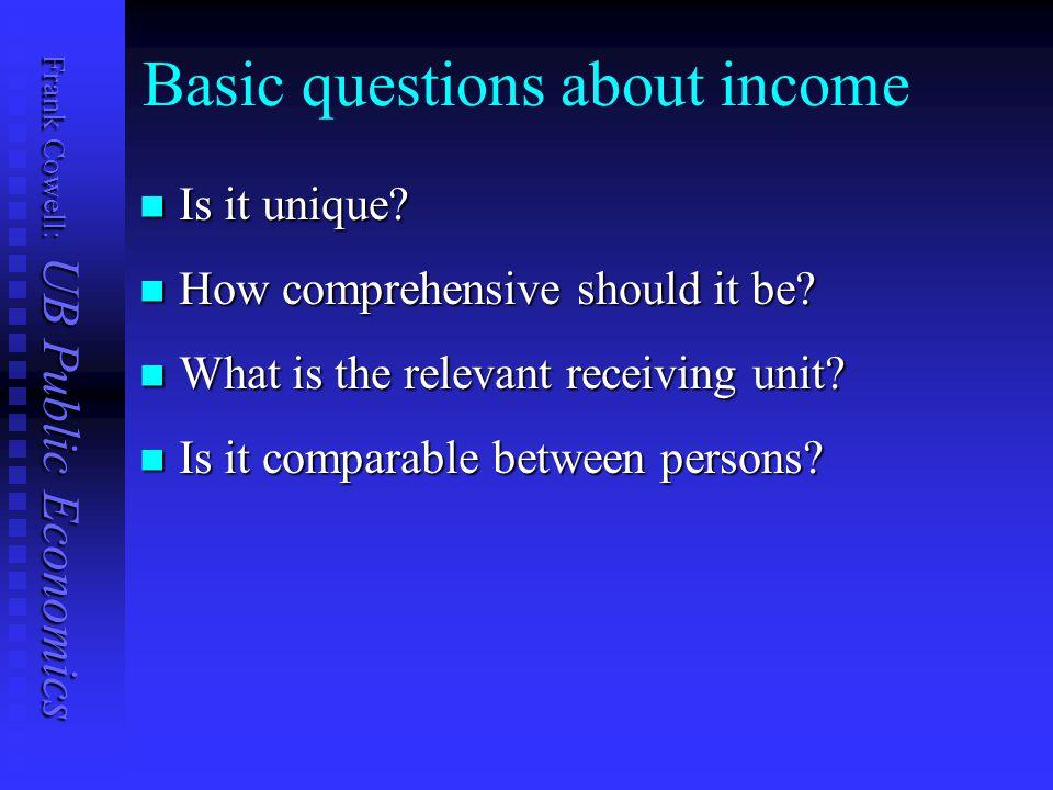 Frank Cowell: UB Public Economics Basic questions about income Is it unique.
