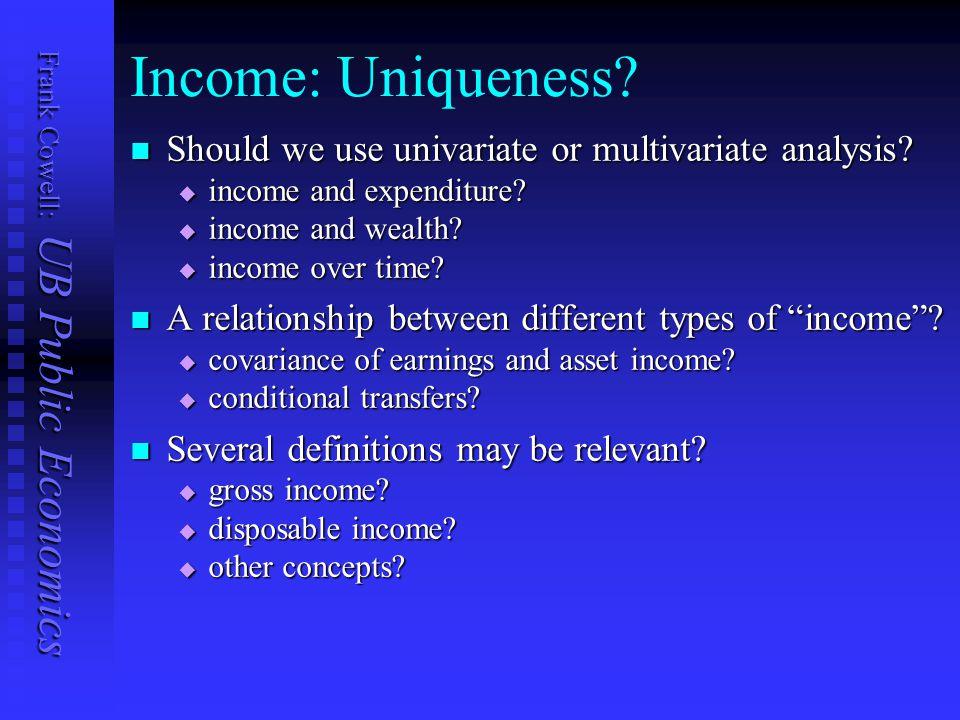 Frank Cowell: UB Public Economics Income: Uniqueness.