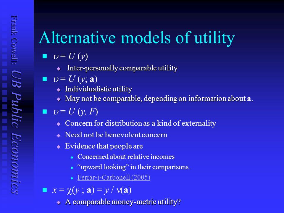 Frank Cowell: UB Public Economics Alternative models of utility  = U (y)  Inter-personally comparable utility  = U (y; a)  Individualistic utility