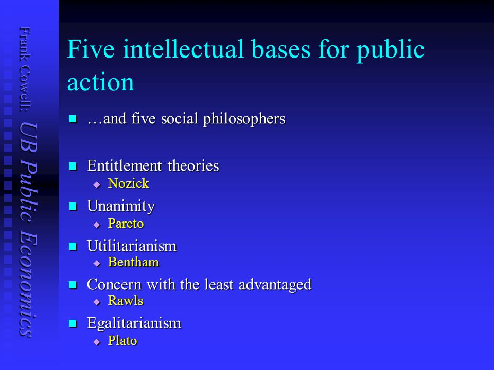 Frank Cowell: UB Public Economics Five intellectual bases for public action …and five social philosophers …and five social philosophers Entitlement theories Entitlement theories  Nozick Unanimity Unanimity  Pareto Utilitarianism Utilitarianism  Bentham Concern with the least advantaged Concern with the least advantaged  Rawls Egalitarianism Egalitarianism  Plato