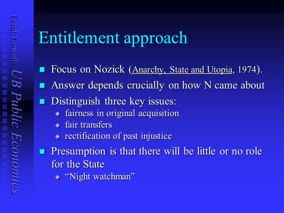 Frank Cowell: UB Public Economics Entitlement approach Focus on Nozick ( Anarchy, State and Utopia, 1974 ). Focus on Nozick ( Anarchy, State and Utopi