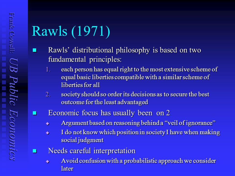 Frank Cowell: UB Public Economics Rawls (1971) Rawls' distributional philosophy is based on two fundamental principles: Rawls' distributional philosop